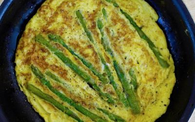 Asparagus omelette or to dunk in boiled eggs.