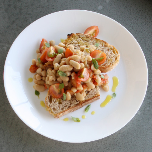 Brushetta with cannellini beans & cherry tomatoes