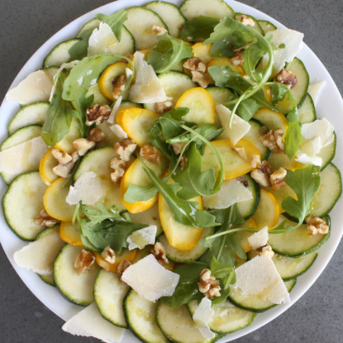Courgette carpaccio with walnuts and parmesan