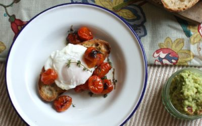 Poached eggs with roasted thyme tomatoes