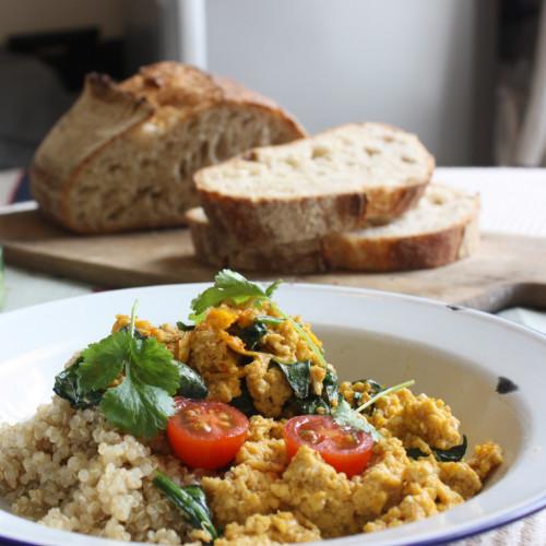 Quinoa spinach & scrambled eggs
