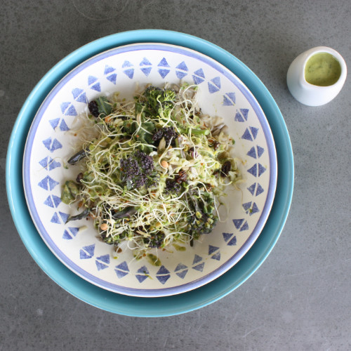 Sprouted rice and broccoli salad with avocado & basil dressing