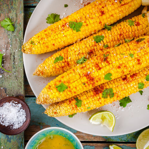 Corn on the cob with chilli, lime & coriander butter