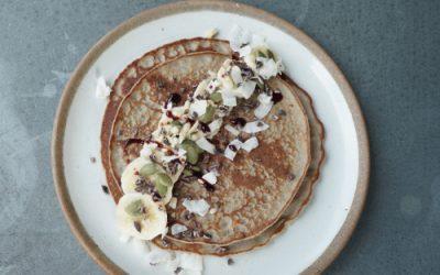 Buckwheat, banana and coconut pancakes