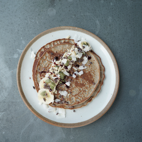 Buckwheat, banana and coconut pancakes