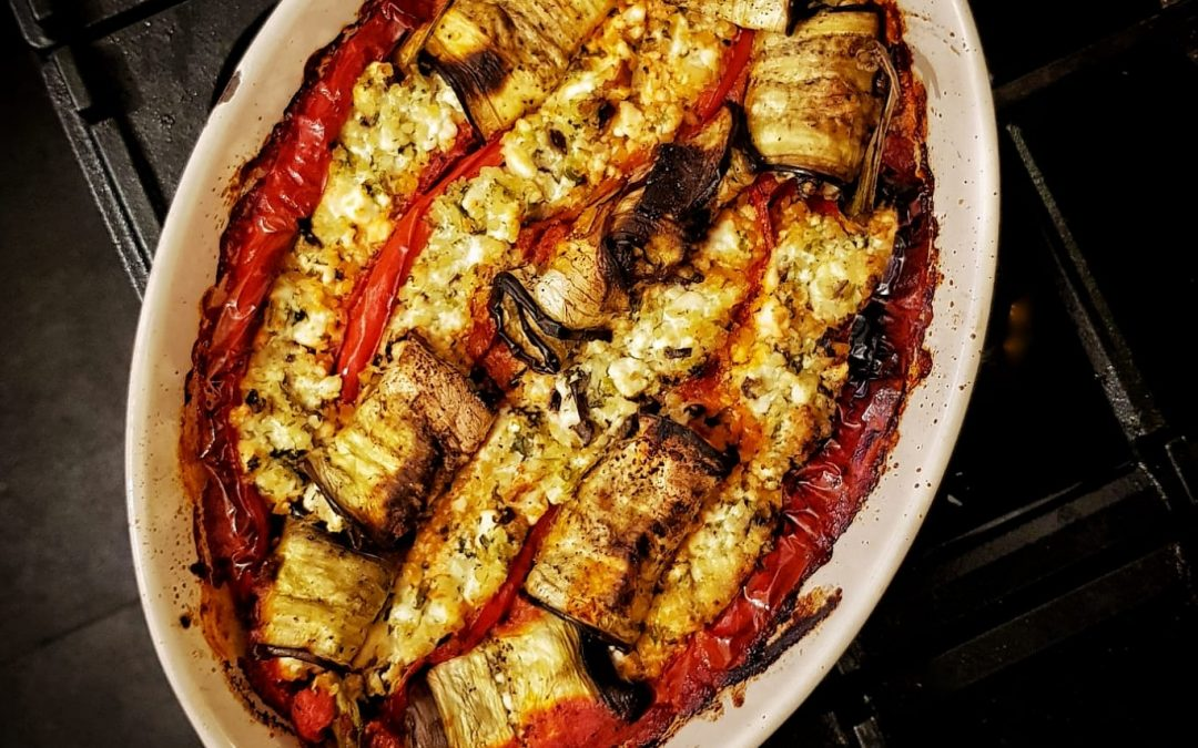 Feta stuffed Romano peppers and aubergine