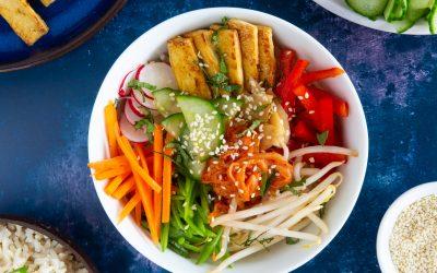 Tofu bibimbap (Korean rice bowl)